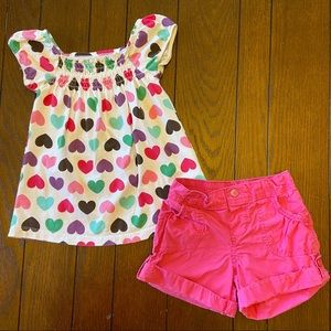 Girl's 4T Shorts Outfit Pink and Hearts